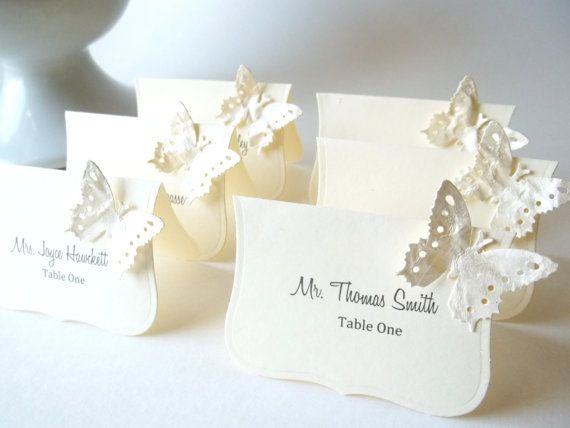 wedding butterfly place cards hand painted butterfly escort cards ivory and buttercream