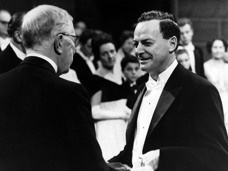 Richard Feynman, theoretical physicist, right, receiving the Nobel Prize in Physics in 1965