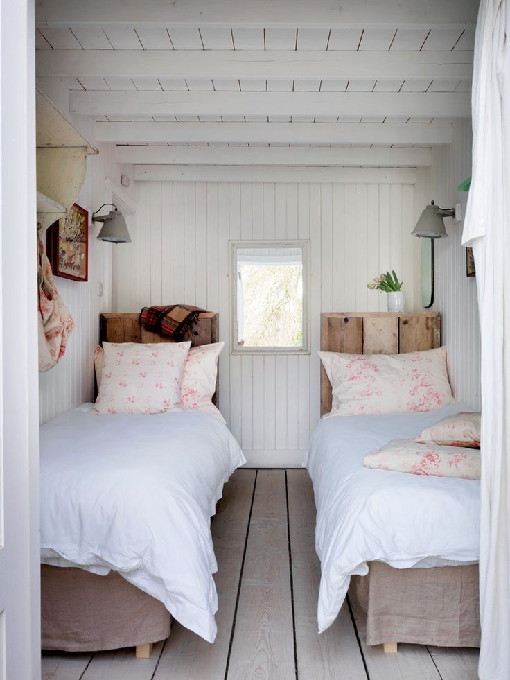 Small guest bedroom, coastal feel, white washed wood, twin beds | Cabbages & Roses Ltd