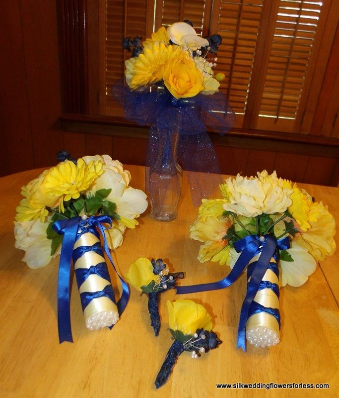 Sunbeam Yellow And Horizon Blue Set At Silkweddingflowersforless Silk Wedding FlowersBlue