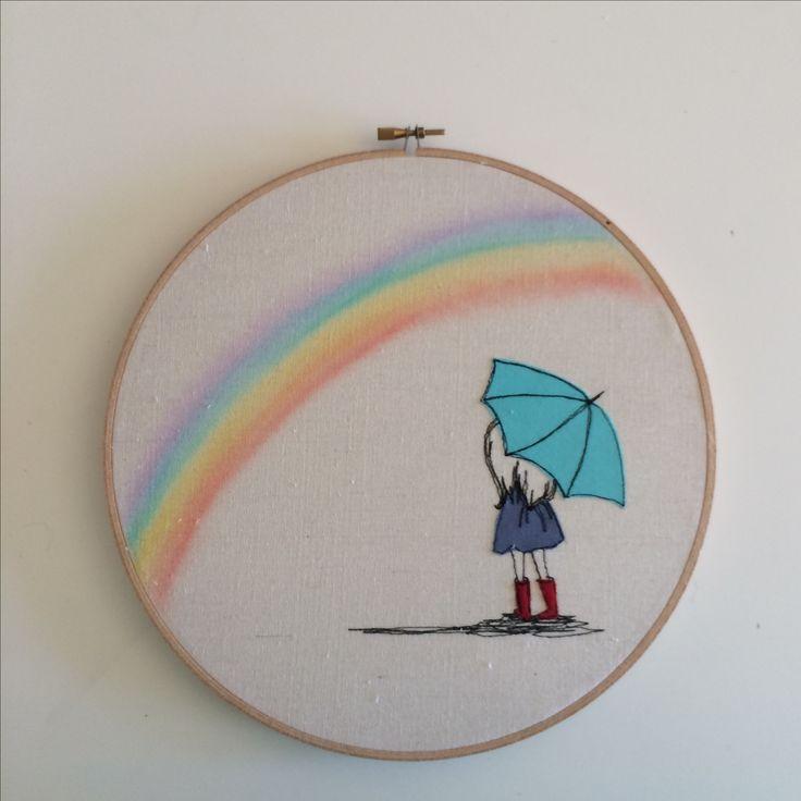 Watching rainbows Freemotion embroidery hoop art