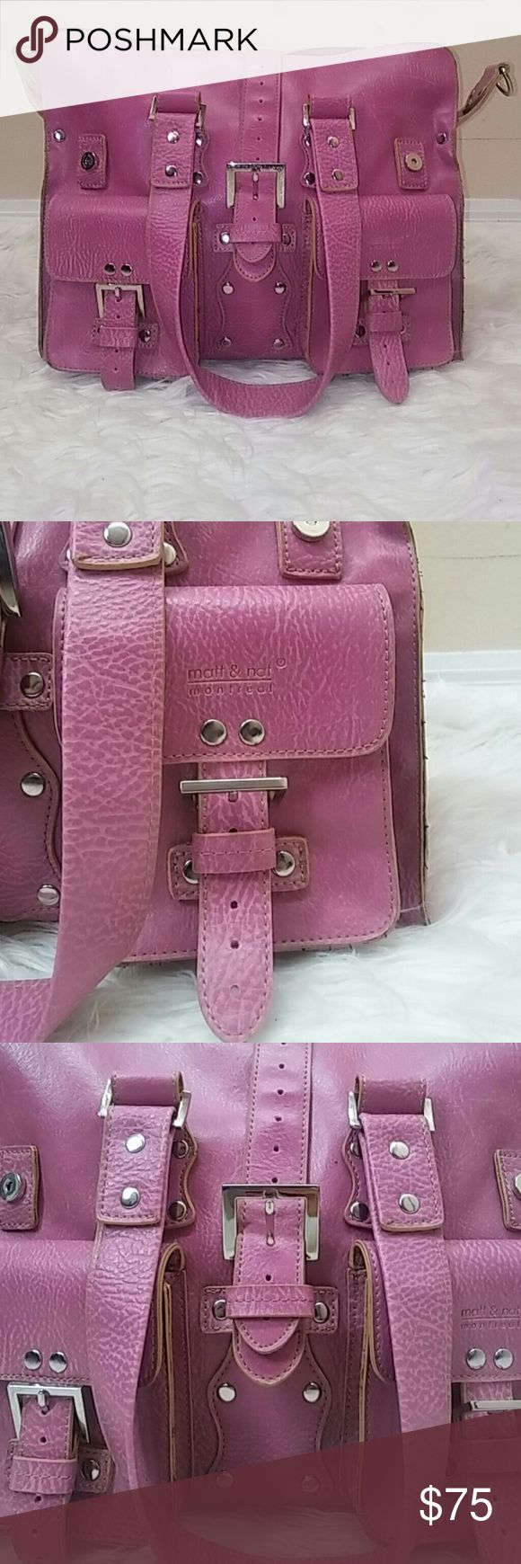 Gorgeous dusty rose matt and nat satchel bag Perfect condition besides the missing shoulder strap. Super clean and a gorgeous dusty rose color. Silver hardwear and lots of pockets and storage! Matt & Nat Bags Satchels