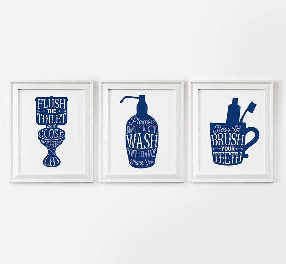 bathroom art 3 printables flush the toilet wash your hands brush your navy blue bathroom decornavy - Bathroom Decorating Ideas Blue And White