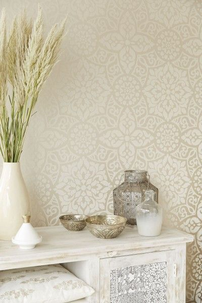 Yasmin Cream (341700) - Eijffinger Wallpapers - A stunning cream lustre wallcovering with a beautiful all over geometric decorative motif design in glass beads. Paste the wall. Please request a sample for true colour and texture. Pattern repeat 53cm.