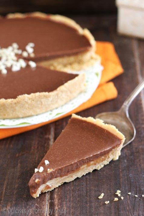 Crostata al caramello e cioccolato Twix senza cottura Dulcisss in forno by Leyla