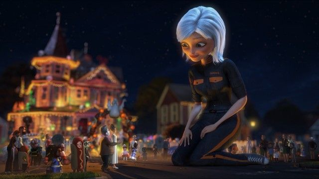 """With Halloween saved, Susan Murphy, a.k.a. Ginormica, bids farewell to her normal-sized parents in """"Monsters vs Aliens: Mutant Pumpkins from Outer Space"""": http://www.dvdizzy.com/dreamworksspookystories.html"""