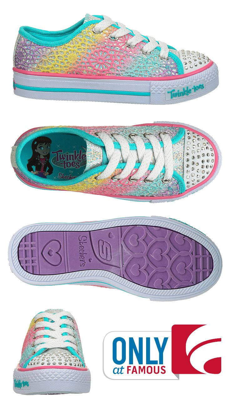 Light up toes, rhinestones and rainbow crochet. Say hello to you mini-me's favorite new pair of shoes by Skechers.