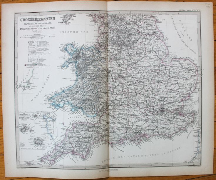 Great Britain - GrossBritannien, Sudliches Blatt - Antique Maps and Charts – Original, Vintage, Rare Historical Antique Maps, Charts, Prints, Reproductions of Maps and Charts of Antiquity