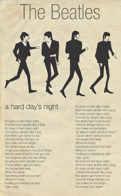 hard days night beatles essay The beatles' first movie, 'a hard day's night,' came out in 1964 the book is also complemented by an essay and detailed captions written by beatles' historian.
