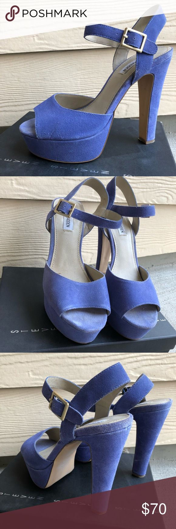 Steve Madden Platform Sandals Baby Blue Sexy Steve Madden Platform Platformed and peep-toed, this party-ready must-have will give you legs for days 4.75 inch heel height 1 inch platform Steve Madden Shoes Platforms