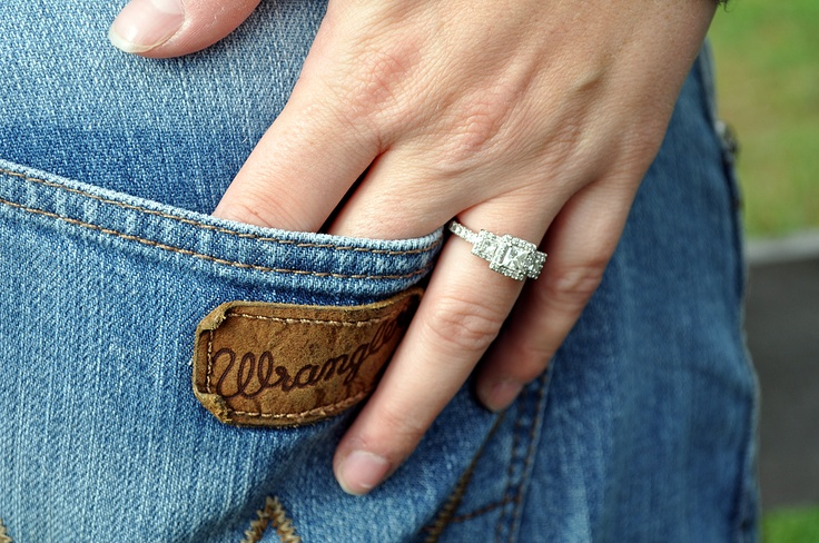 Ring and Wranglers. Country Engagement Picture.  Beth and Blake Engagement session photo by Amy Glascock
