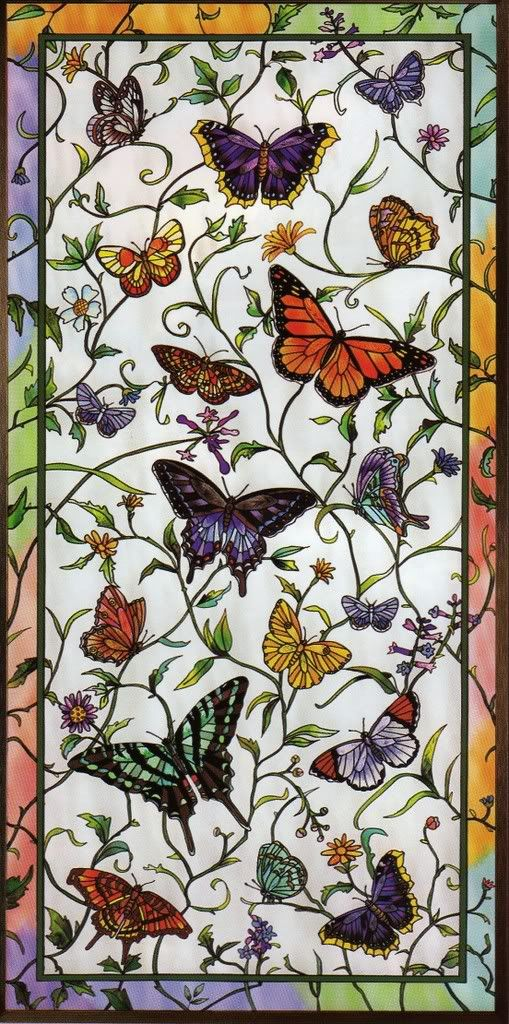 Rainbow butterfly botanical stained glass window panel by genieangel.