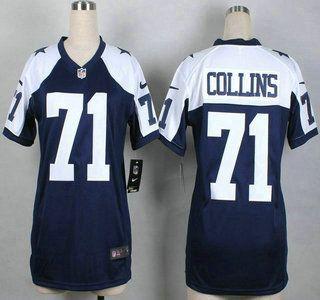 Women Dallas Cowboys Jersey 71 La'el Collins Nike Blue Thanksgiving Game Jerseys