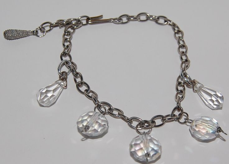 Clear crystal charms bracelet upcycled vintage faceted by silverwireandgems on Etsy