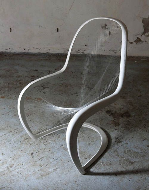 Jump Studio's cat's cradle take on a Panton chair, for the 50th anniversary competition organized by Vitra (winner)
