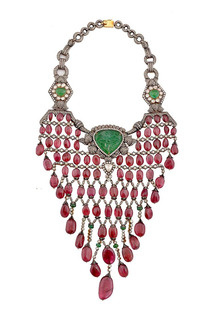 Amrapali necklace set with rubies, emeralds and uncut diamonds showcased at the brand's event in New Delhi.