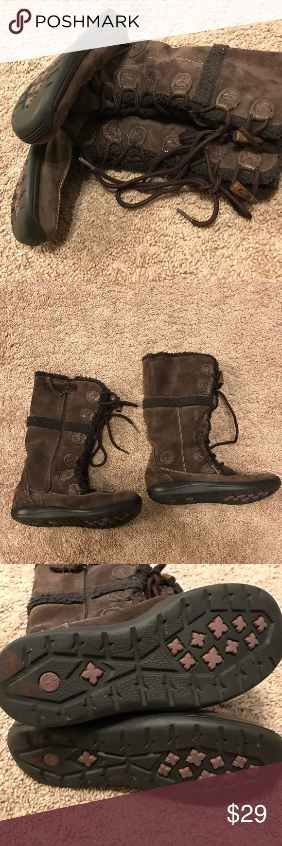 Girls Timberland Suede Lace UpSide Zip Up Boot These boots are in awesome condition!!! Waterproof and real Suede! They have the lace up look but have a zipper to make it easy to put in and off. Sz 3 girls. Timberland Shoes Rain & Snow Boots