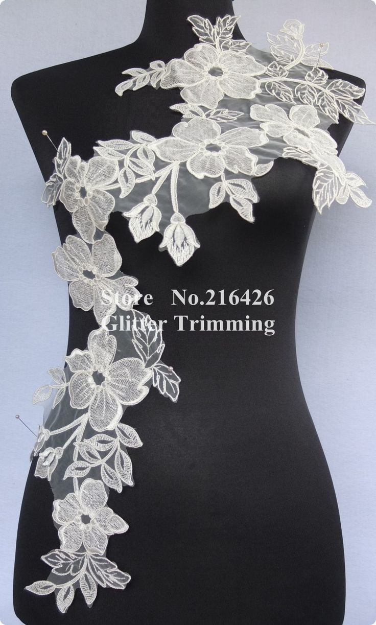 Pc newest long offwhite beautiful flower embroidery