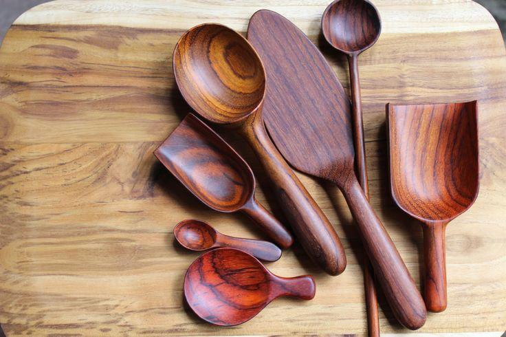 Mimi Robinson Design: wooden utensil collection hand carved in Guatemala- scoops, tasting spoon, cake server, ice-cream scoop, teaspoon, scoop