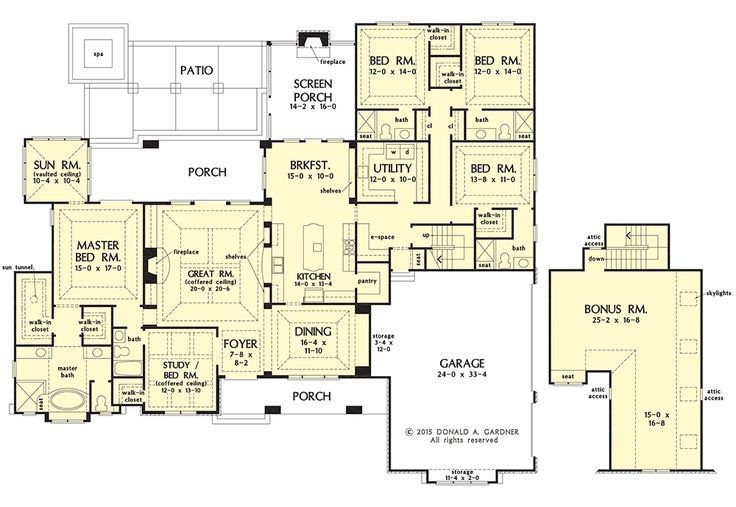 NOW IN PROGRESS: 5 bedroom Craftsman home plan with a 3 car #garage, walk-in #pantry, and huge #utility room. View this plan in more detail on the House Plans Blog: http://houseplansblog.dongardner.com/conceptual-design-1375-5-bedroom-craftsman-ranch/
