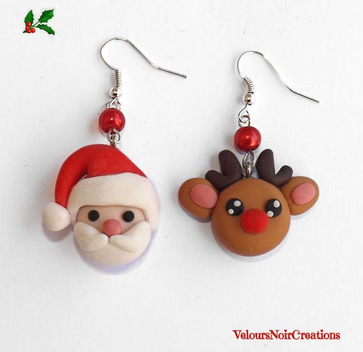 Orecchini babbo natale e renna in fimo ,santa claus earrings by Velours Noir Crèations, 8,50 € su misshobby.com