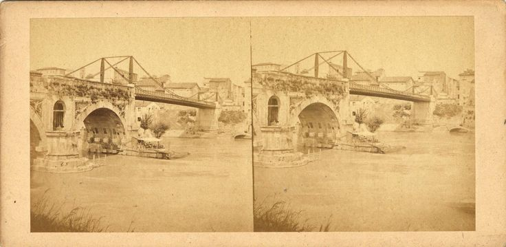 Stereograph of Ponte Emilio and the Tiber River