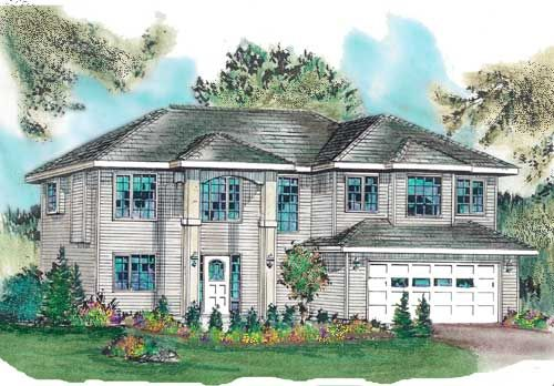 Plan No. 134013 - The two story high front porch makes for a dramatic entry to this great family home. Good sized rooms, lots of closets and an open plan will make family living easy. Notice the location of the laundry room makes it possible to develop a suite for extra income on the basement level.