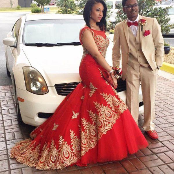 Red Appliques Mermaid Satin Prom Dresses 2017