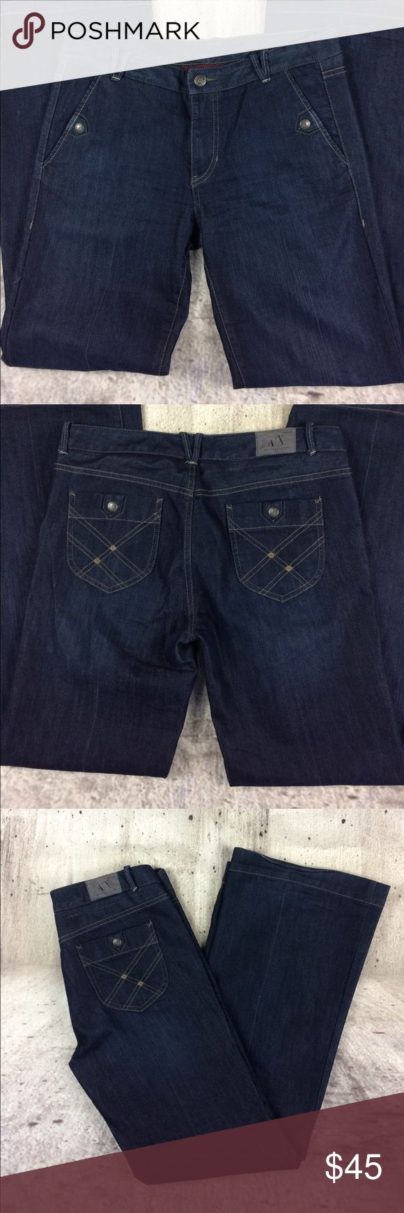 """Armani Exchange trouser jeans Armani Exchange trouser jeans cotton and polyester blend inseam 33""""rise 9"""" A/X Armani Exchange Jeans Flare & Wide Leg"""