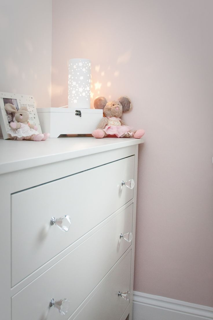 painted Ikea Hemnes drawers. painted in a soft grey Dulux eggshell paint. cute star lamp from The Range on top makes a great nightlight.