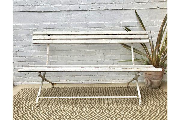 Vintage Antique White Folding Garden Bench | Vinterior