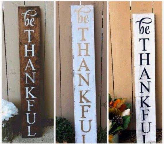 Grateful Thanksgiving Porch Sign Rustic Wood Vertical Primitive Fall Decor Sign