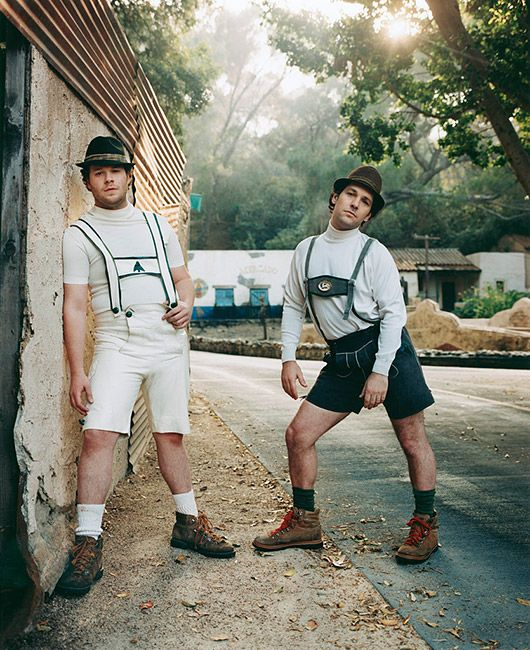 .Seth Rogen & Paul Rude  news feed marketing - posing is that gender based on. Female or Make posé..