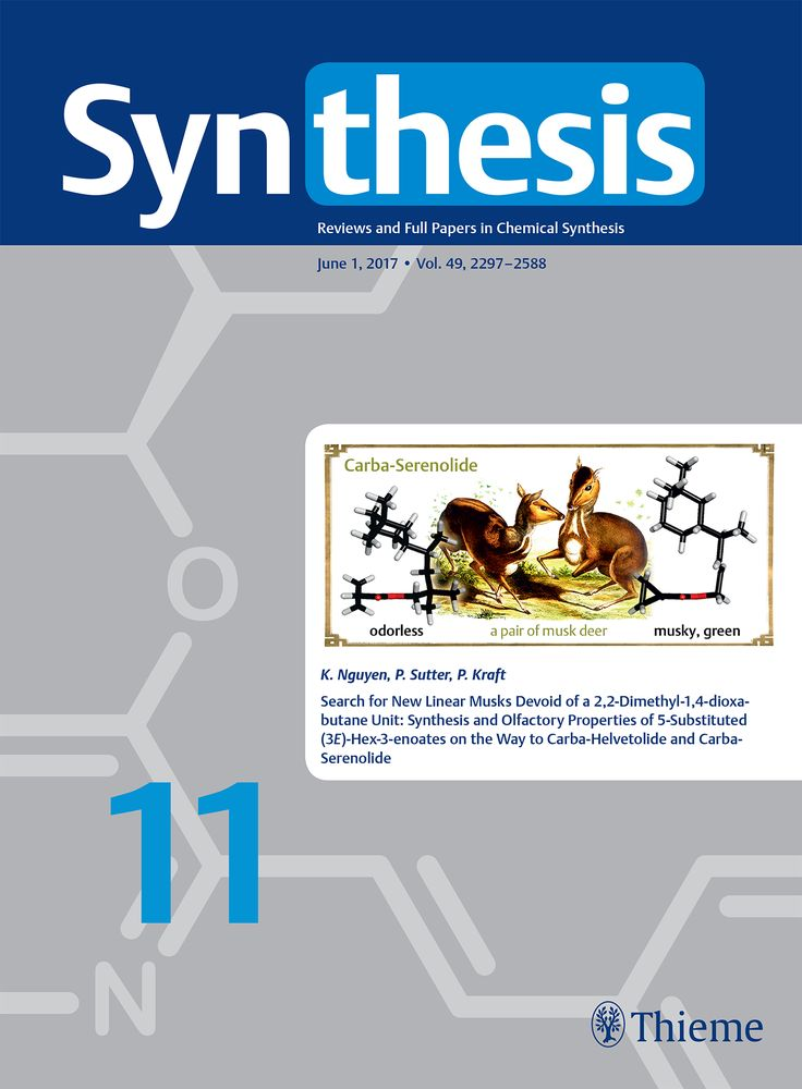 Kim Nguyen, Pascal Sutter, Philip Kraft, Search for New Linear Musks Devoid of a 2,2-Dimethyl-1,4-		dioxabutane Unit: Synthesis and Olfactory Properties of 5-Substituted (3E)-Hex-3-enoates on the 		Way to Carba-Helvetolide and Carba-Serenolide, Synthesis 2017, 49, 2443–2460. DOI: 10.1055/s-0036-1588740