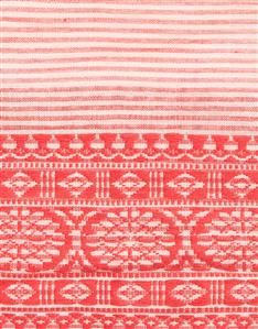 RED-Embroidered Stripe Scarf