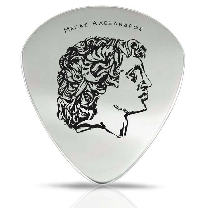 The engraved design of Alexander the Great on our guitar pick is based on a gold medal from Tarsus in Cilicia and it dates to the middle of the 3rd century B.C.