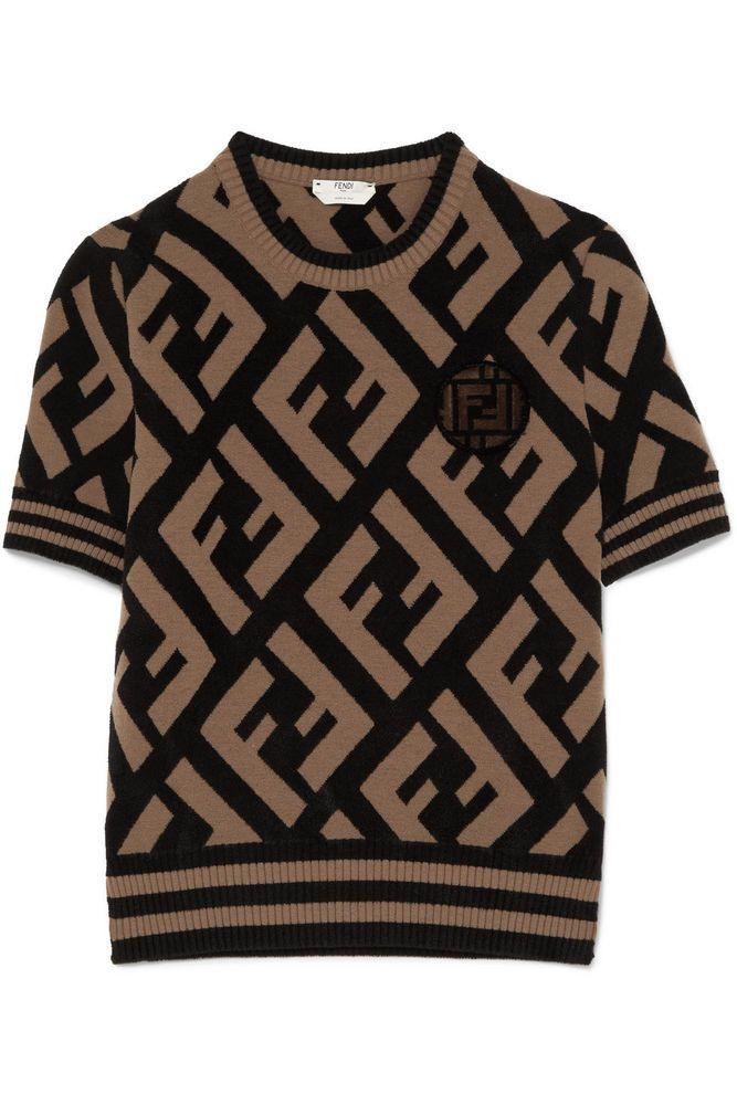 d3aa92e902e5db Luxury Women S Fashion Watches.  1034 NWT Amazing FENDI FF Logo  Jacquard-Knit Sweater