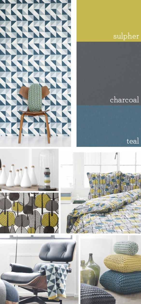 Sulpher, charcoal and teal is all very lovely, but you don't have to stick to the three big cheeses – mix things up with a bit of brown here and there, a splash of pale baby pink and some pale aqua blue…this is SUCH a flexible and, quite frankly, lickable palette!