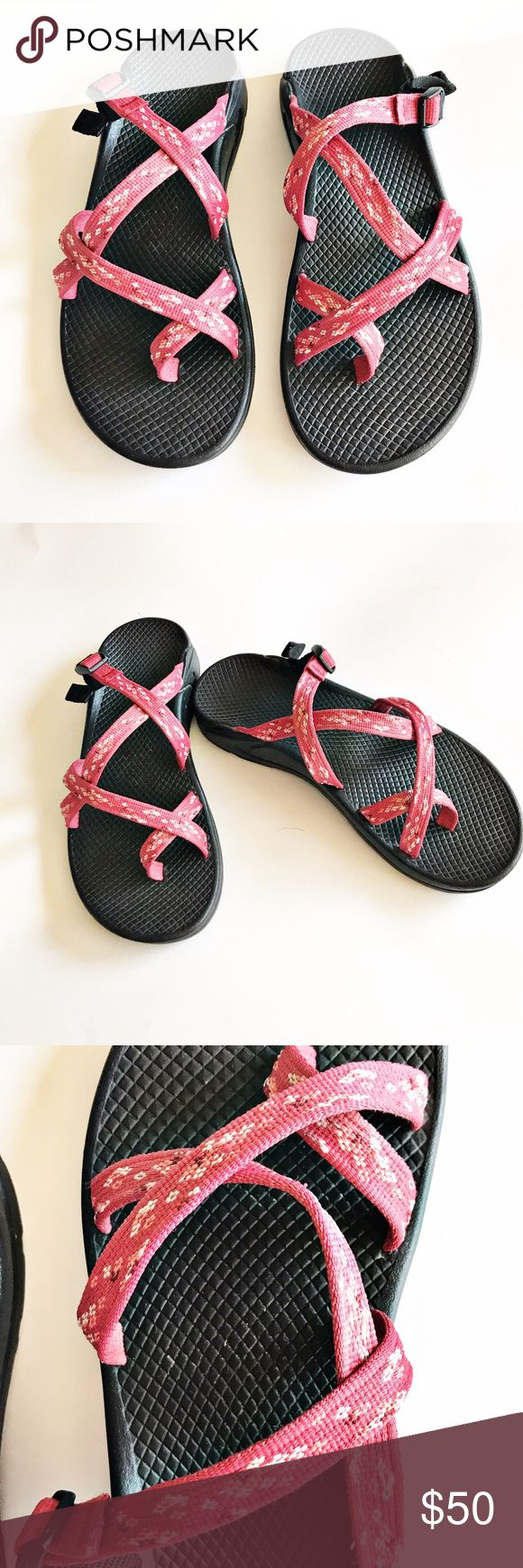 Chaco Zong Ecotread Sandal Chaco Zong Ecotread reddish-pink Sandals. Adjustable straps provide secure, comfy fit. Non-marking rubber soles. Manufacturer suggests to order a 1/2 size up because this style runs small. Chaco Shoes Sandals