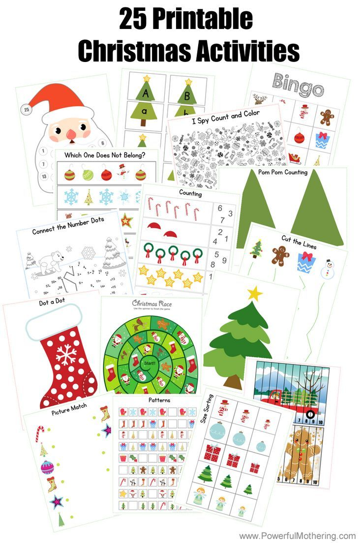 25 Printable Christmas Activities For Preschoolers And Older Toddlers Christmas Activity Book Christmas Worksheets Christmas Activities [ 1104 x 736 Pixel ]