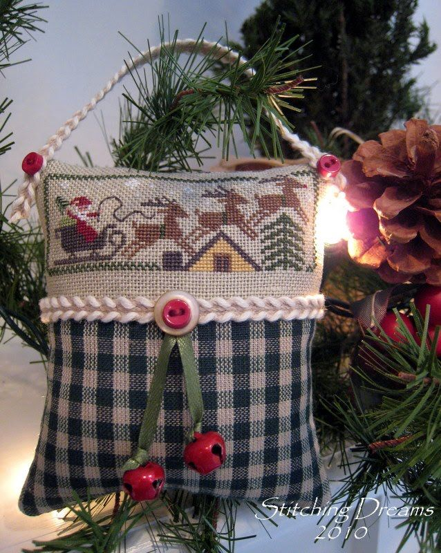 """Designer : Prairie Schooler (I stitched just the very bottom of the """"The Night Before Christmas"""" sampler found in PS Book No. 63: """"Christma..."""