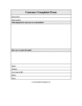 A printable form for businesses to offer customers who have complaints or suggestions. Free to download and print