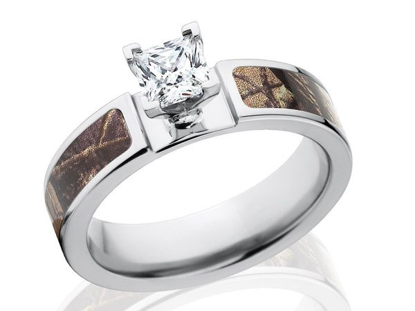 Real Tree Camo Engagement Wedding Ring Set Womens Titanium Square Cubic Zirconia Band 2pcs