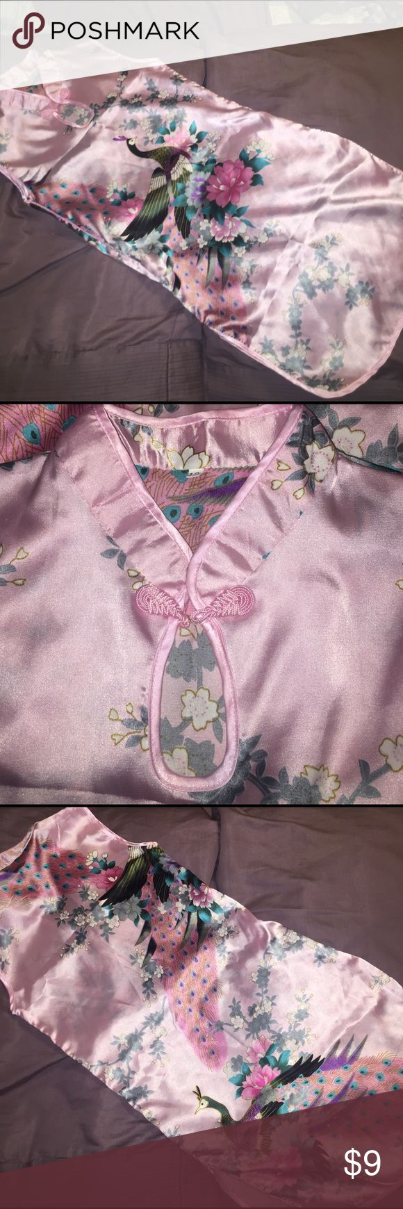 Pink satin Japanese girls dress, size 12,beautiful Traditional Asian girls size 12 dress, very beautiful pink satin with peacocks and floral design, great condition, thin material, no rips or stains, worn once has a zipper on side under arm💖size runs small so 10 is more likely to fit asian  Dresses Casual