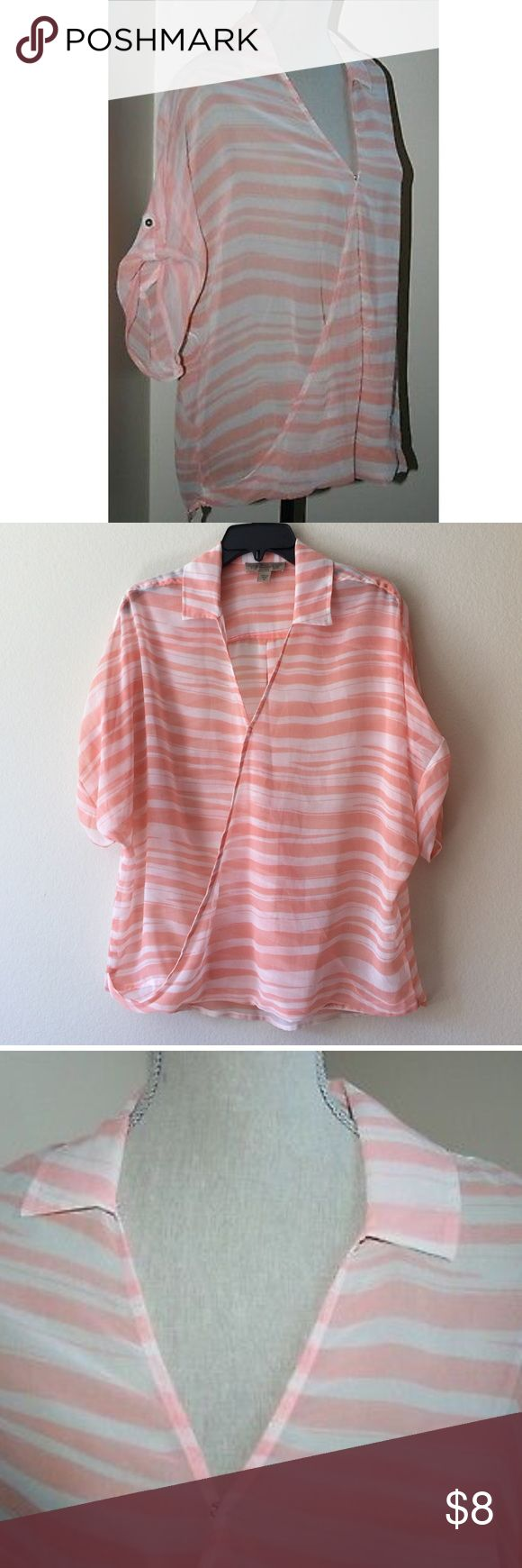 """VINTAGE AMERICA Izzy Stripe Faux Wrap Top Blouse NEW Nine West VINTAGE AMERICA Womens Izzy Stripe Faux Wrap Top Blouse SMALL* like new* The top measures approximately 23 inches from armpit to armpit (front side only). The front length measures approximately 26 inches. The back length measures approximately 29 inches.Colors:  """"Corallo Combo"""" Soft orange & white stripes. Short Sleeve. Sheer. Faux Wrap. 1-snap front closure. A draped, full cut fit. Fabric:  100% polyester. Tops Blouses"""