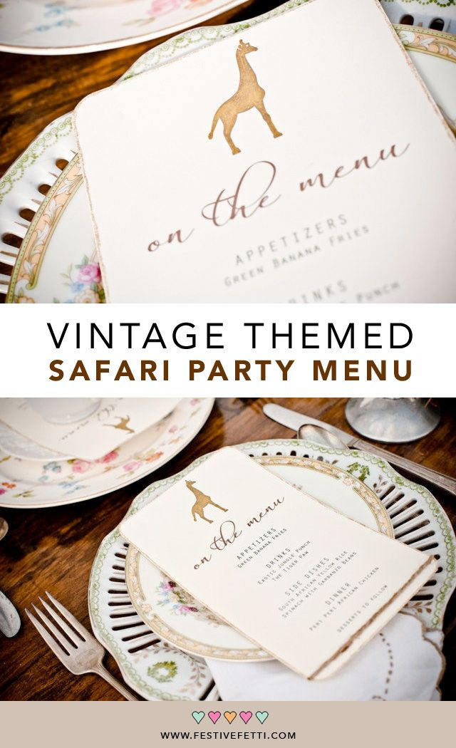 Custom safari menu with a vintage theme. Let guests know the party menu at your Safari Wedding or Safari Baby Shower. This menu features a giraffe or the safari animal of your choice. From www.etsy.com/shop/festivefetti / safari birthday party / safari baby shower ideas / safari wedding theme / glitter menu cards