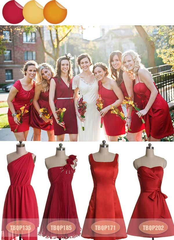 Vivacious Red Bridesmaid Dresses Fall 2013 -Now that's how you pull off different bridesmaids dresses!