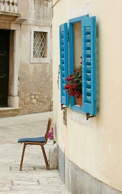 Blue shutters, Porec, Croatia
