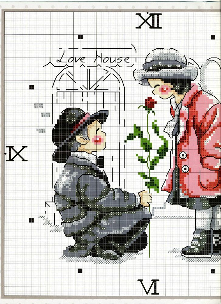 Young couple cross stitch