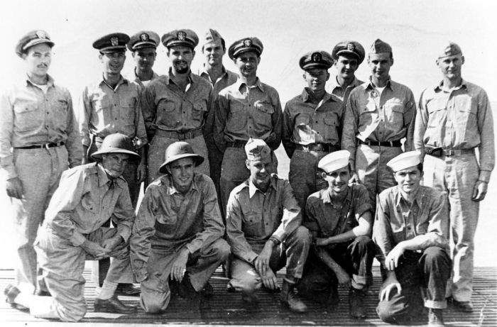 George Bush and other rescued airmen with some of the officers and men of submarine USS Finback, September 1944. (George Bush Presidential Library and Museum)